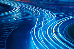 Light trails on the urban road Royalty Free Stock Photos