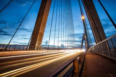 Light trails from vehicles on ANZAC Bridge in Sydney royalty free stock images