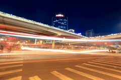 Light trails on the viaduct in beijing Stock Photos