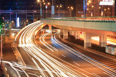 Light trails on the viaduct ramp Stock Photos
