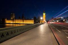Light trails on Westminster Bridge Royalty Free Stock Photography