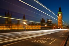 Light trails at Westminster Stock Photos