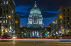 Light trails in Wisconsin Royalty Free Stock Photo