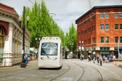 Light train of the Portland Streetcar system Stock Images