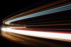 Light tralight trails in tunnel. Long exposure photo in a tunel Royalty Free Stock Photo