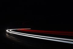 Light tralight trails in tunnel. Long exposure photo in a tunel Stock Photography