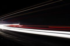 Light tralight trails in tunnel. Long exposure photo in a tunel Stock Images