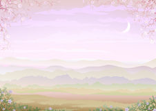 Light and tranquil morning landscape royalty free illustration