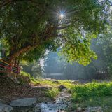 Suspension bridge across the waterfall. Light through the tree at Ranong hot spring beside waterfall Ranong hot spring landmark of Ranong province Thailand stock photo