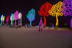 Light trees on the street for christmas in managua Stock Photos