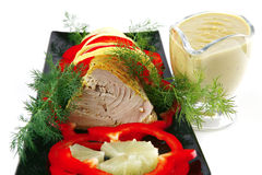 Light tuna served on plate Royalty Free Stock Image