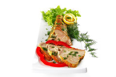 Light tuna served on plate Stock Photography