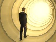 Light tunnel. Man walking in a tunnel toward a bright light source. Digital illustration Stock Photo