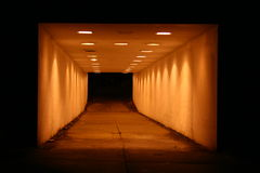 Light Tunnel. A tunnel filled with light in the night Stock Images