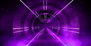 Light tunnel, dark long corridor with neon lamps. Abstract purple background with smoke and neon lights. Concrete floor, symmetrical reflection and mirroring royalty free stock photos