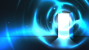 Light tunnel from open door of dark room, abstract mystical paranormal glowing exit. Light in the end of a tunnel. Portal royalty free illustration