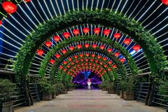 Light Tunnel. A lights tunnel with green plants and red lanterns was like passing gateway in guangyinqiao, jiangbai, China stock photos