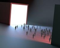 Light tunnel tiny people stock illustration