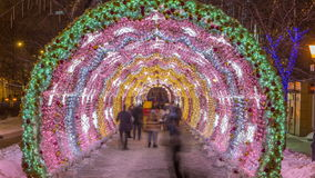 The light tunnel on Tverskoy Boulevard night timelapse. The light tunnel on Tverskoy Boulevard timelapse. Winter night Moscow. People walking inside stock video