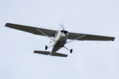 Light turbo-prop airplane. Turbo-prop airplane is approaching Rwy Stock Image