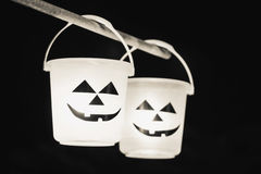 Light in two Halloween bucket stock photos
