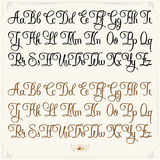 Light typeface set. Hand drawn vector calligraphy tattoo style alphabet Stock Photography