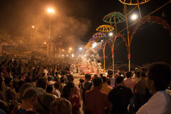 Light Umbrellas at the Night Puja. Ghats at the holy river of Ganga in Varanasi, Uttar Pradesh, India Stock Photo