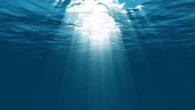 Light underwater in the lagoon. Iridescent rays of the sun under the water stock video footage