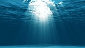 Light underwater in the lagoon. Iridescent rays of the sun under the water stock video