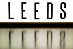 A light up board displaying the phrase LEEDS Royalty Free Stock Photo