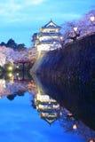 Light up of Hirosaki castle and cherry blossoms. Aomori, Japan Royalty Free Stock Photos