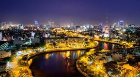 0024-Light up kanał w mieście Obraz Royalty Free