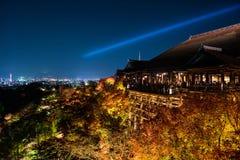 Light up at Kiyomizu, Kyoto. Autumn night light up at Kiyomizu-dera temple, the large veranda wooden stage, Kyoto, Japan Royalty Free Stock Images