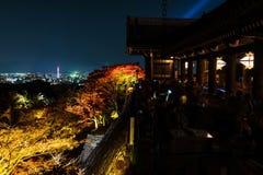 Light up at Kiyomizu, Kyoto. Autumn night light up of large veranda & x28;Kiyomizu stage& x29;, at Kiyomizu-dera temple, Kyoto, Japan Stock Image