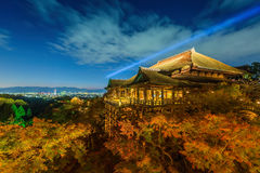 Light up laser show at kiyomizu dera temple. Kyoto , Japan royalty free stock photography