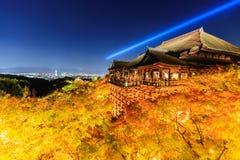 Light up laser show at kiyomizu dera temple , Kyoto Royalty Free Stock Photo