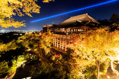 Light up laser show at kiyomizu dera temple, Kyoto Stock Photos