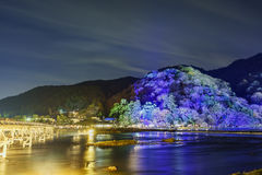 Light up and light festival in Arashiyama area Stock Photos