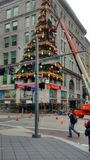 Light up night in Pittsburgh. Preparation for light up night for holiday season stock images