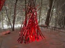 Light up park in winter. stock photos