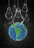 Light up the world sketch blackboard. Digital art Royalty Free Stock Photos