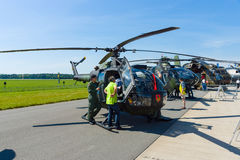 Light utility helicopter Army version MBB Bo105 P-1M. BERLIN, GERMANY - MAY 21, 2014: Light utility helicopter Army version MBB Bo105 P-1M. German Army stock photo