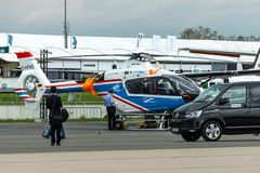 Light utility helicopter Eurocopter EC135 by German Aerospace Center. BERLIN, GERMANY - APRIL 25, 2018: Light utility helicopter Eurocopter EC135 by German royalty free stock photography