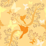 Light vanilla colors seamless pattern with humming Royalty Free Stock Photo
