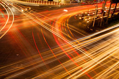Light vehicles in the intersection. Light is the intersection at night, traffic intersection at night, the lights go out Stock Images