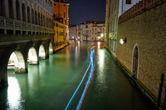 The Light of Venice Long exposure By Night. Stock Image