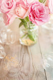 Light vertical background retro with roses Stock Images