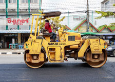 Light Vibration roller compactor at road construction and repair Royalty Free Stock Photography
