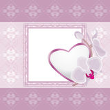 Light violet ornamental frame with heart and blooming orchids. Illustration Royalty Free Stock Photo