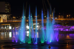 Light and water fountains show at Darling Harbour Stock Image